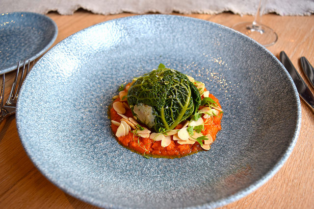 Rabbit, Chorizo, Savoy Cabbage, Romesco Sauce at The Wife of Bath | www.rachelphipps.com @rachelphipps