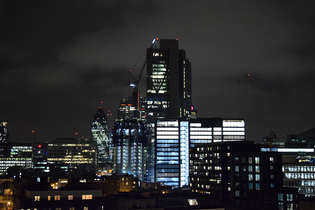 Shoreditch Skyline at Night | www.rachelphipps.com @rachelphipps