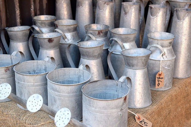 Watering Cans at Columbia Road Flower Market | www.rachelphipps.com @rachelphipps