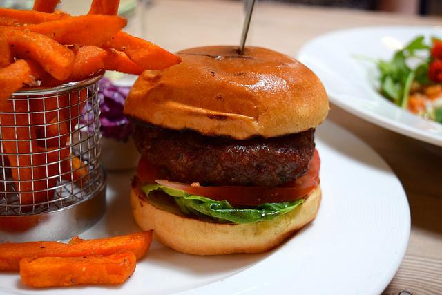 Venison Burger with Onion Chutney & Sweet Potato Fries at The Granville, Canterbury | www.rachelphipps.com @rachelphipps