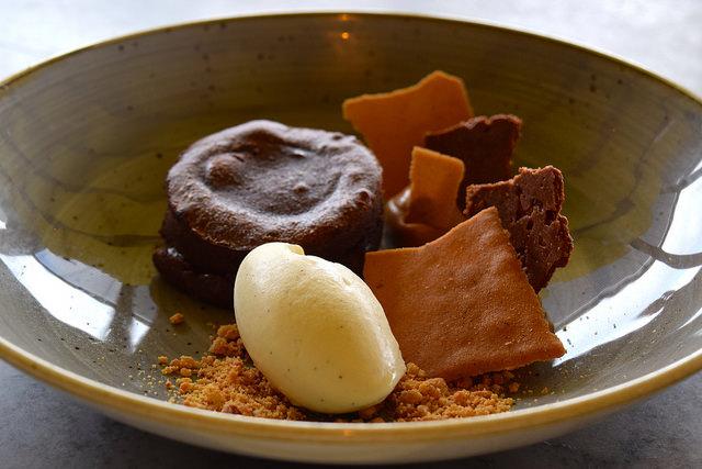 Chocolate Fondant with Salted Caramel Ice Cream & Peanut Brittle at Duck & Waffle | www.rachelphipps.com @rachelphipps