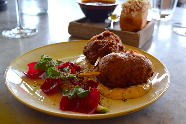 Pork & Apple Corn Dogs with Chipolte Mayo at Duck and Waffle | www.rachelphipps.com @rachelphipps
