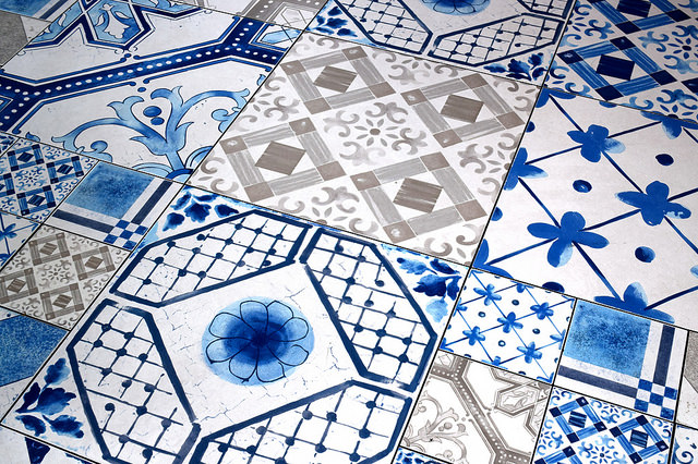 Blue and White Tiles at Duck and Waffle | www.rachelphipps.com @rachelphipps