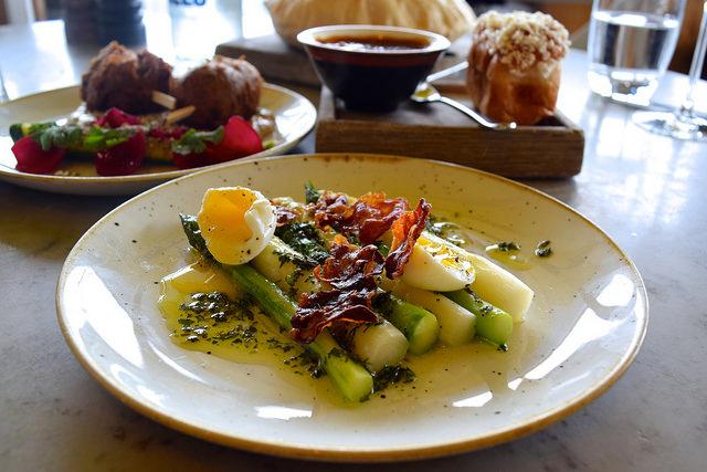Asparagus with Pheasant Egg Gribiche and Crispy Bath Chaps at Duck & Waffle | www.rachelphipps.com @rachelphipps