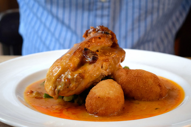 Chicken with Cream Sauce & Potato Croquettes at The George, Molash | www.rachelphipps.com @rachelphipps