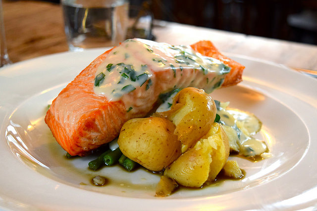 Salmon & Crushed Potatoes at The George, Molash | www.rachelphipps.com @rachelphipps