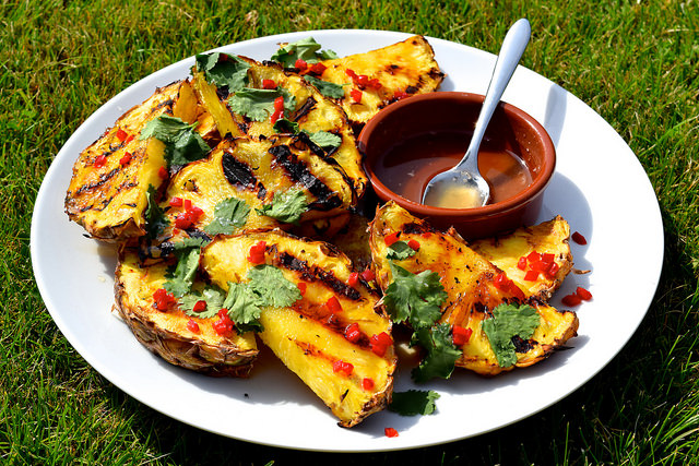 Barbecue Pineapple with Rum Syrup, Chilli and Coriander | www.rachelphipps.com @rachelphipps