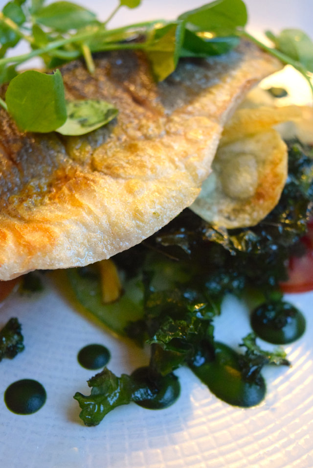 Sea Bass and Kale at The Gun, Docklands