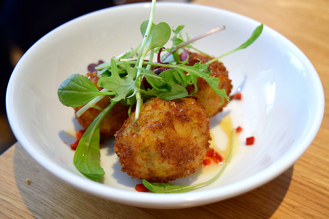 Courgette, Chilli & Ricotta Croquettes with Spiced Honey at Lupins, Borough | www.rachelphipps.com @rachelphipps