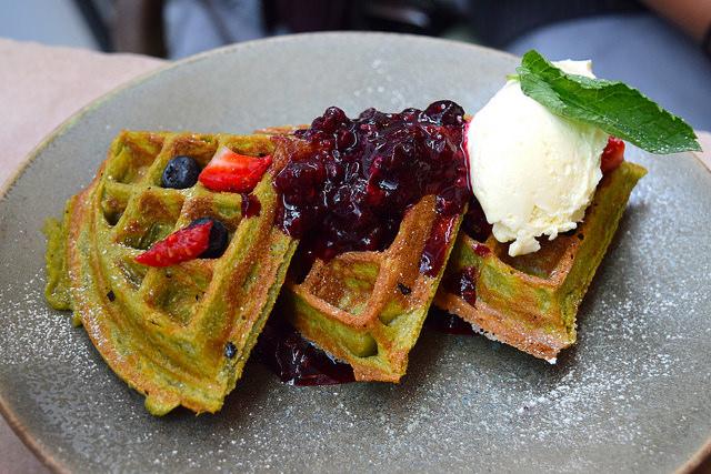 Matcha Green Tea Waffles at Rail House Cafe, Victoria | www.rachelphipps.com @rachelphipps