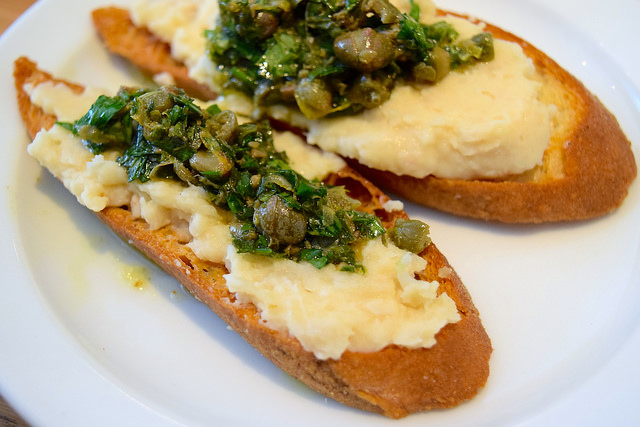 White Bean Crostini with Anchovy & Lemon Salsa at Lupins, Borough | www.rachelphipps.com @rachelphipps
