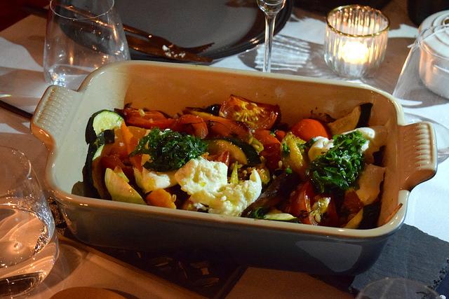 Farro, Roasted Veggies & Mozzarella | www.rachelphipps.com @rachelphipps