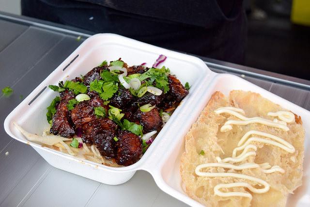 Building a Asian Barbecue Pork Belly Sandwich at Smokin' Lotus | www.rachelphipps.com @rachelphipps