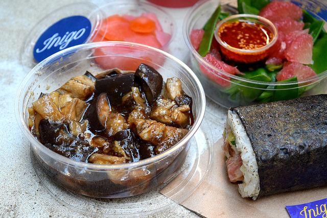 Taiwanese Aubergine Salad from Inigo, Soho #sushi #lunch #london #soho #handrolls | www.rachelphipps.com @rachelphipps