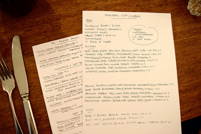 Handwritten Lunch Menu at DUCKSOUP, Soho | www.rachelphipps.com @rachelphipps
