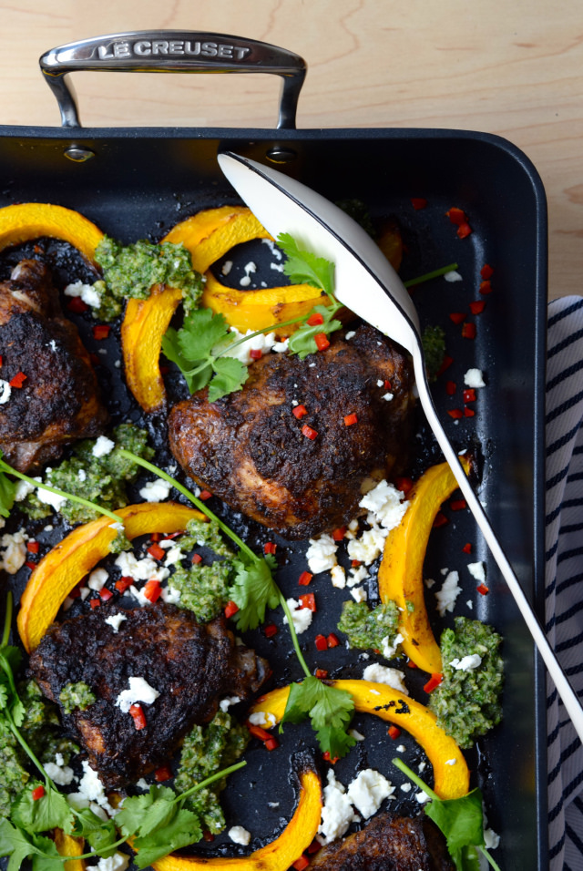 Mexican Chicken with Pumpkin & Pesto #chicken #pumpkin #onepan #pesto #feta #chilli #roast #lecreuset | www.rachelphipps.com @rachelphipps