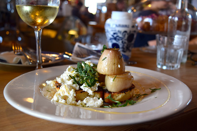 Roasted Shallots with Goats Curd, Charred Toast, Mint & Honey at Wild Goose #smallplates #wildgoose #thegoodsshed #canterbury | www.rachelphipps.com @rachelphipps