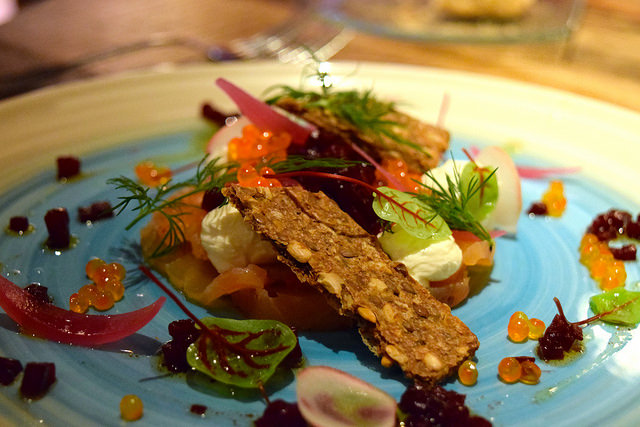 Salmon with Citrus Fromage Frais at Auberge de la Cour Verte #france #brittany