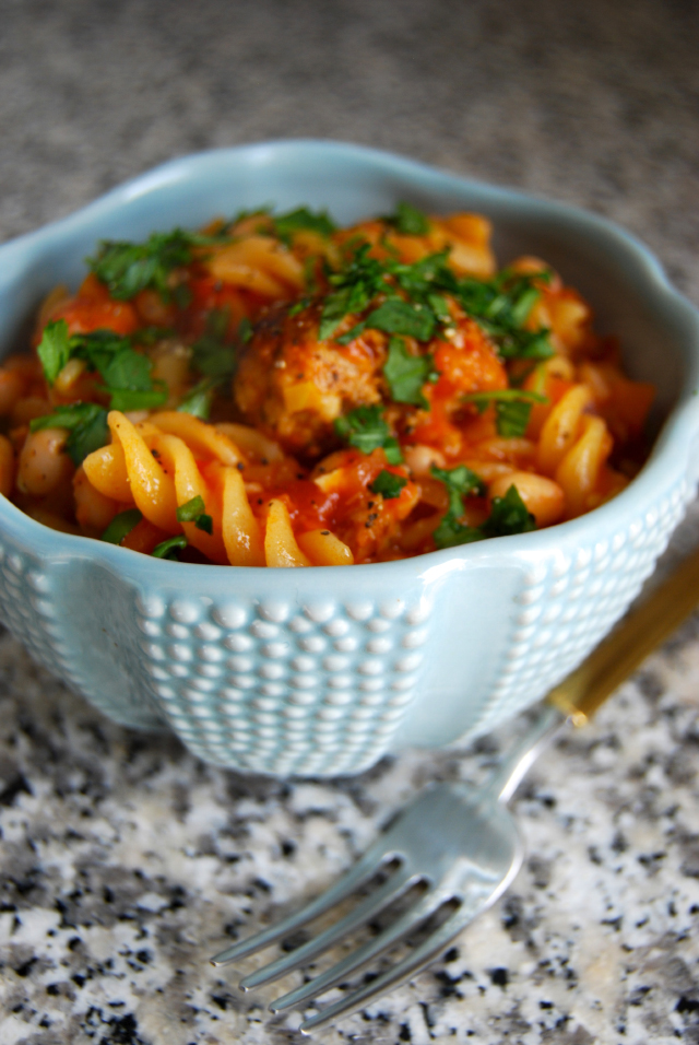 Sausage Meatball and White Bean Stew #stew #onepot #meatball #sausage #pasta #beans