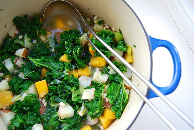 'Winter Cure' Kale, Barley and Root Vegetable Soup #soup #dinner #weeknight #winter