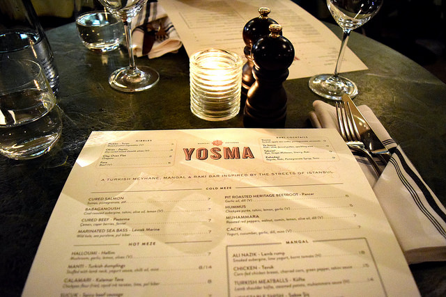 Dinner Menu at Yosma, Marylebone #mezze #marylebone #london