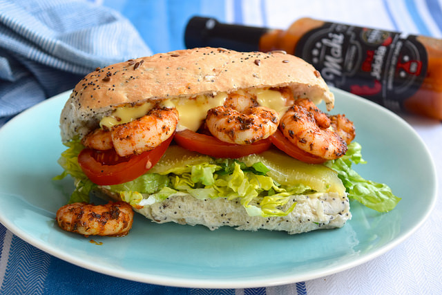 Lighter Southern Shrimp Po' Boy Sandwich #poboy #sandwich #prawn #shrimp