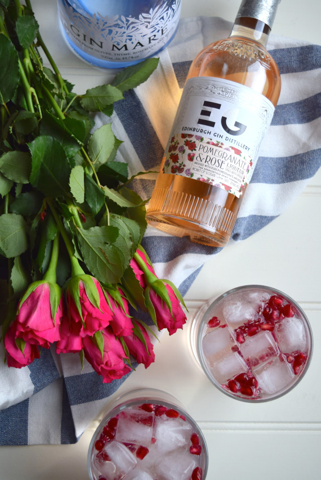 Valentines Day Rose and Pomegranate G and T's #ginandtonic #rose #pomegranate #gin #valentinesday