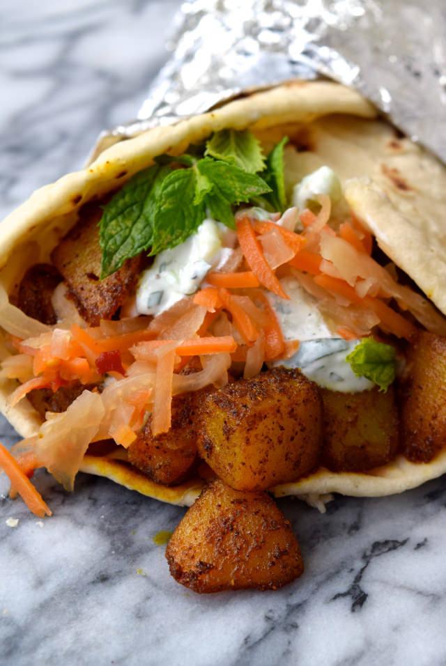 Indian Spiced Potato Wraps with Easy Raita & Spicy Slaw #potato #wraps #raita #indian #slaw #vegetarian