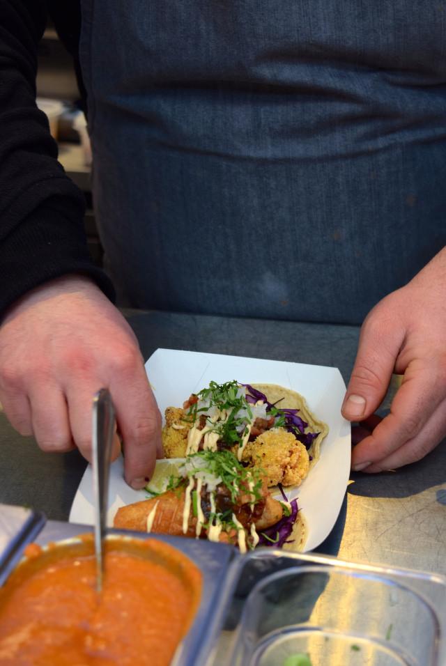 Preparing Breddos Tacos at The Kitchen at Old Spitalfields Market #breddostacos #london #spitalfields #streetfood