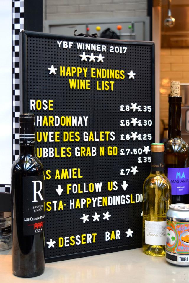 Happy Endings Wine List at The Kitchen at Old Spitalfields Market #happyendings #dessert #streetfood #london #spitalfields