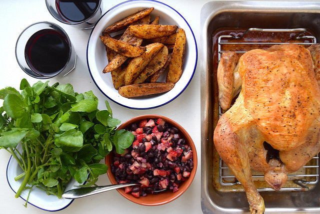 Roast Chicken with Black Bean & Strawberry Salsa #chicken #roastchicken #salsa #strawberry #wedges