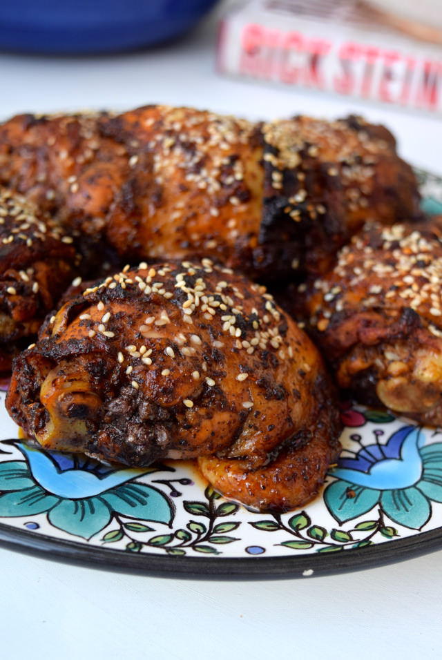 Oven-roasted Chicken with Sumac, Pomegranate Molasses, Chilli & Sesame Seeds #chicken #sumac #pomegranate #chilli #sesame