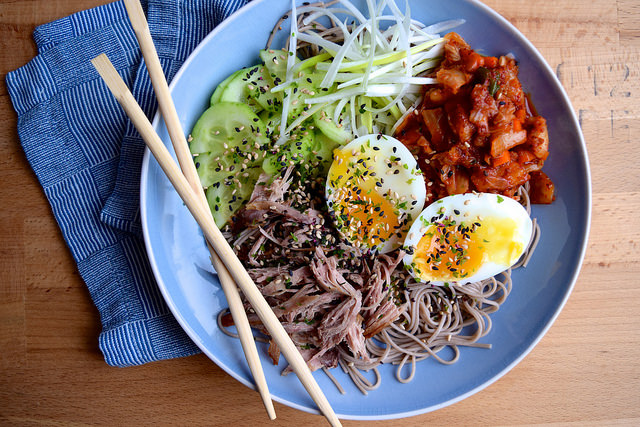Cold Korean Noodle Bowl with Soft Eggs & Crispy Duck #korean #noodles #bowlfood #duck #eggs #soba
