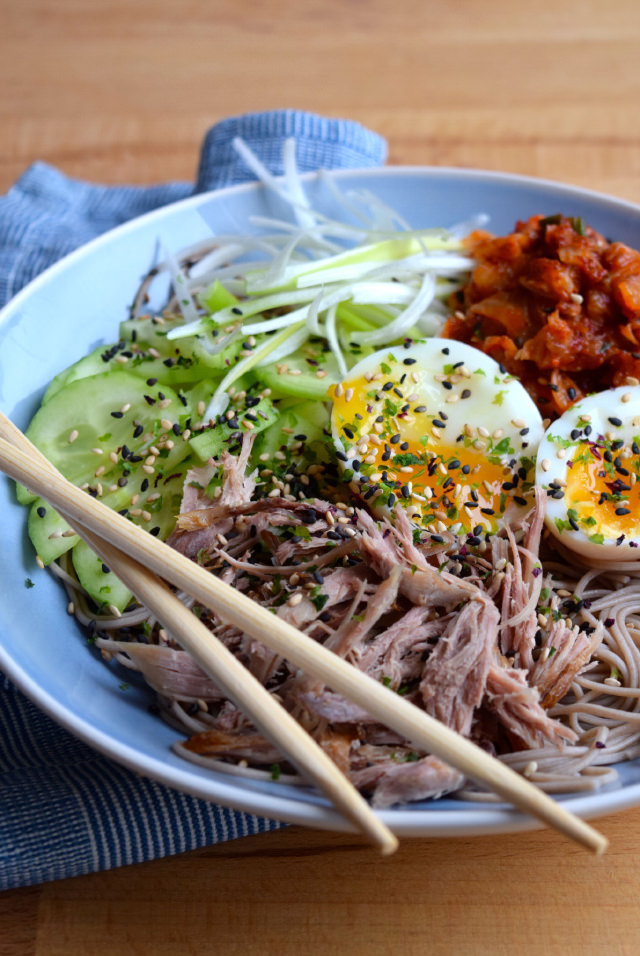 Cold Korean Noodle Bowl #korean #noodles #bowlfood #duck #eggs #soba