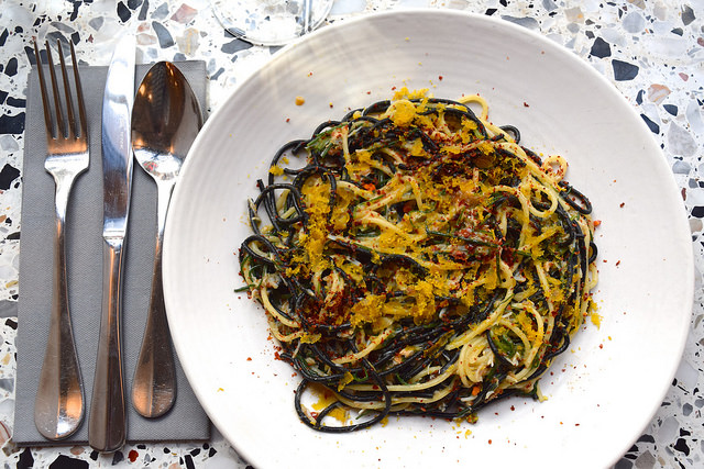 Crab, Chilli Agretti, Black and White Spaghetti & Bottarga at Pastaio, Soho #pasta #pastaio #london