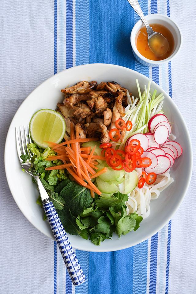 Griddled Vietnamese Chicken Noodle Bowls