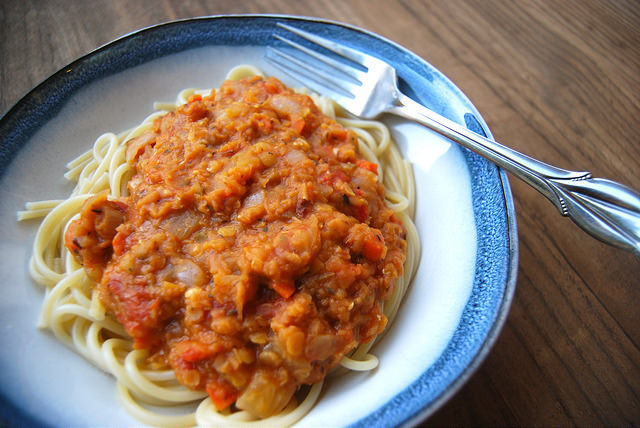 Freeze-ahead Red Lentil Ragu #lentil #ragu #pasta #meatfreemonday #vegetarian