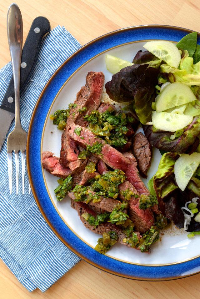 Steak with Pickled Jalapeño Relish #steak #jalapeno #weeknight #beef