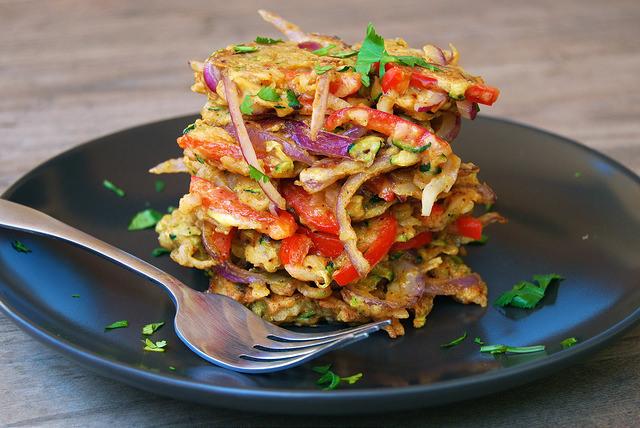 Indian Spiced Leftover Summer Vegetable Fritters #indian #fritters #veggie #dinner
