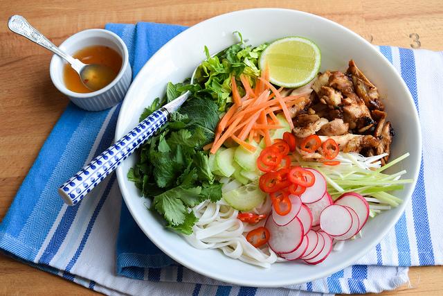 Griddled Vietnamese Chicken Noodle Bowl