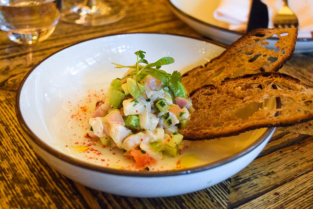 Sea Bass Ceviche at Hovarda, Soho #greek #turkish #london #soho #ceviche #fish #seabass
