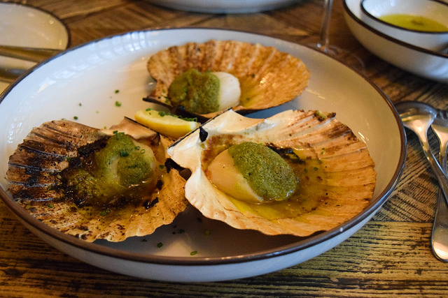 Scallops with Herb Butter, Lemon and Hazelnuts at Hovarda, Soho #greek #turkish #london #soho #scallops