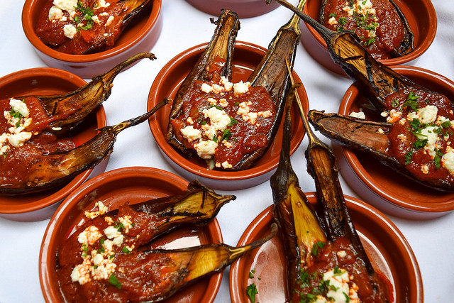 Baby Aubergines with Cumin Scented Tomato Sauce & Feta at The Royal Horseguards Hotel's Secret Herb Garden #aubergine #eggplant #feta #tapas #gingarden #pubgarden #hotel #london