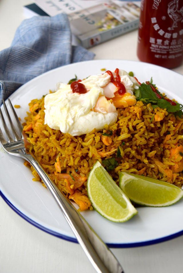 Easy Coconut Kedgeree #healthy #salmon #coconutoil #coconut #kedgeree #indian #rice