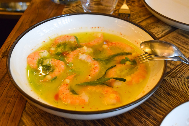 Marinated Prawns with Lemon Oil and Tarragon at Hovarda, Soho #greek #turkish #london #soho #prawns #shrimp