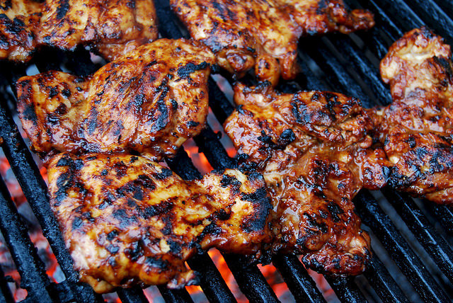 Skinny Sticky Storecupboard Barbecue Chicken #chicken #chickenthighs #barbecue #grilling #marinade