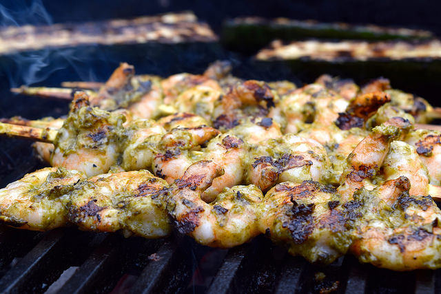 Barbecue Pesto Prawns with Pea, Feta and Avocado Salad #prawns #shrimp #skewers #kabobs #barbecue #grilling #pesto #marinade