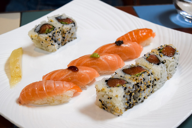 Salmon Sushi Lunch at Yashin Ocean House, Kensington #sushi #london #kensington