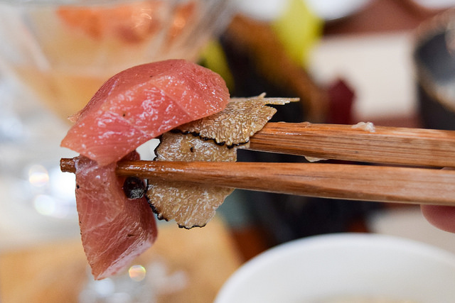 Toro Sashimi and Summer Truffle at Yashin Ocean House, Kensington #sushi #london #kensington