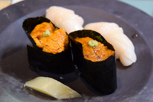 Scallop and Uni Sushi at Yashin Ocean House, Kensington #sushi #london #kensington